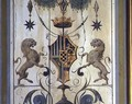 Painted window shutters depicting a coat of arms with two lions - Baldassare Peruzzi
