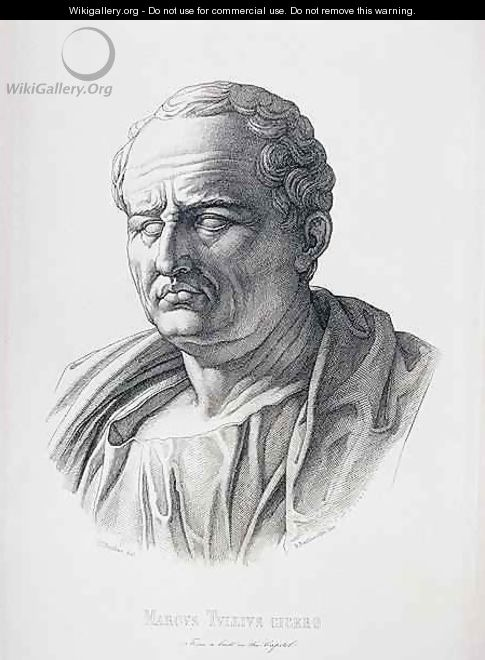 Portrait of Marcus Tullius Cicero 106-43 BC engraved by B.Bartoccini, 1849 - (after) Perkins, C.C