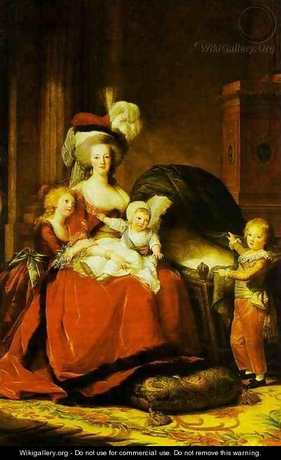 Portrait of Queen Marie Antoinette with Children - Elisabeth Vigee-Lebrun