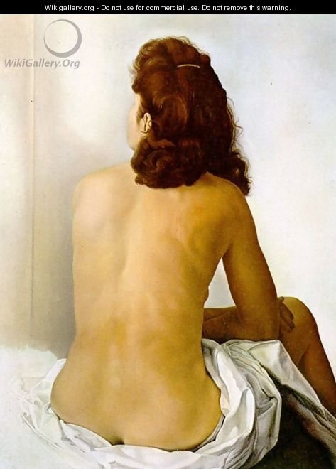 Gala Nude From Behind Looking in an Invisible Mirror - Salvador Dali