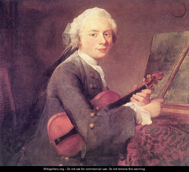 Young Man with a Violin (Charles Godefroy)  - Jean-Baptiste-Simeon Chardin