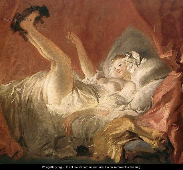 Young Woman Playing with a Dog - Jean-Honore Fragonard
