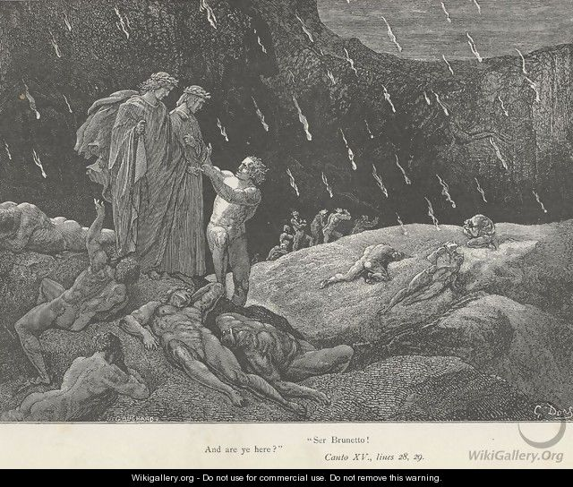 """Ser Brunetto! And are ye here?"" (Canto XV., lines 28-29) - Gustave Dore"