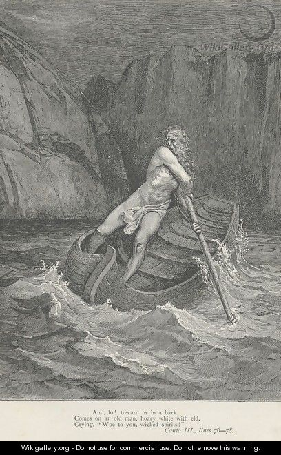 Comes on an old man, hoary white with eld, (Canto III., line 77) - Gustave Dore