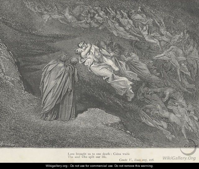 Love brought us to one death: Caina waits (Canto V., line 105) - Gustave Dore