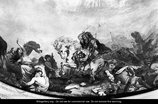 Attila the Hun (c.406-453) and his hordes overrunning Italy and the Arts - Eugene Delacroix