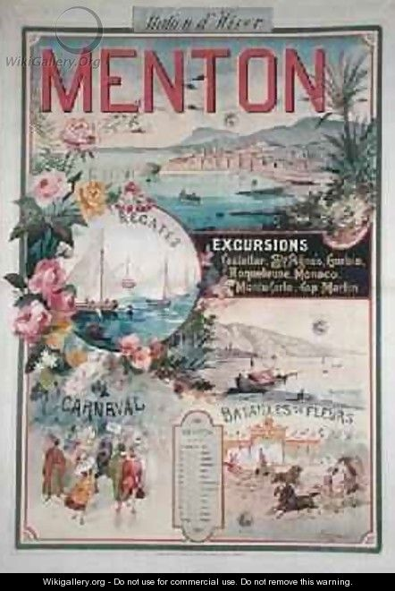 Poster advertising Menton as a Winter Resort - V. Nozeran