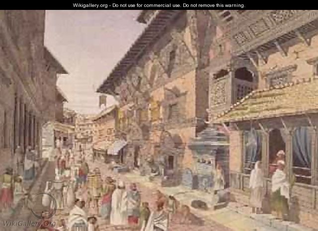 Nepalese Bhadgoari People in a Street beside a Shrine in Nepal Bhaduon 1853 - Dr. H.A. Oldfield