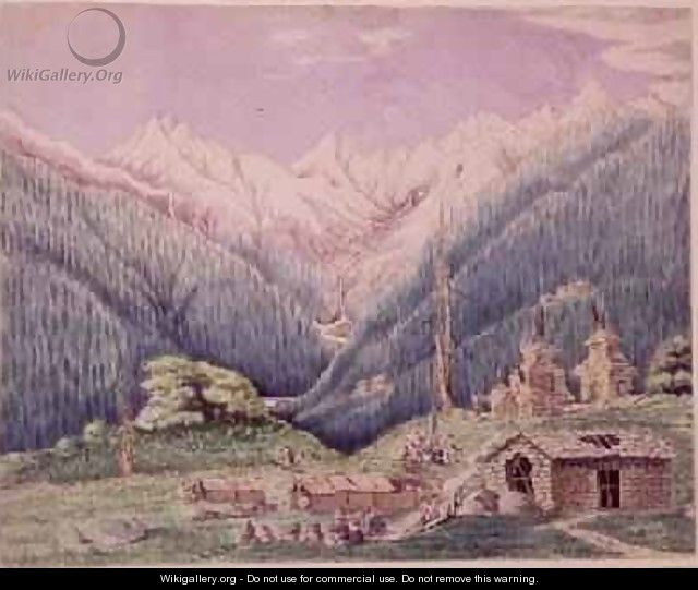 The Trisuli River at its Source in the Lakes of Gosainkund sketched from the Tibetan village of Dimchali 1860 - Dr. H.A. Oldfield