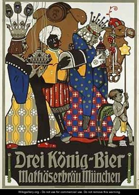 German advertisement for Three Kings beer from Mathaeser brewery - Otto Obermeier
