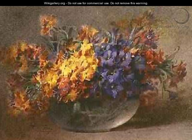 Spring flowers in a glass bowl - Blanche Odin