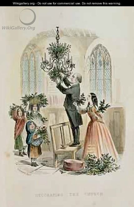 Decorating the Church from The Anniversary A Christmas Story - Thomas Onwhyn