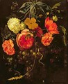 Still Life with a Swag of Fruits and Flowers Tied with a Blue Ribbon - Maria van Oosterwyck