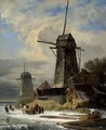 Winter Landscape with a moulin - Andreas Schelfhout