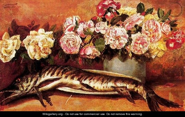 Still life with flowers and fish - Giovanni Segantini