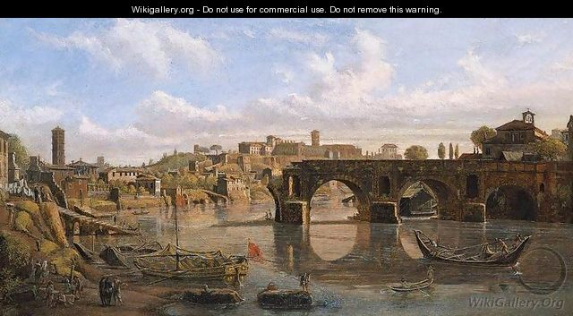 Rome, View of the River Tiber with the Ponte Rotto and the Aventine Hill - Caspar Andriaans Van Wittel