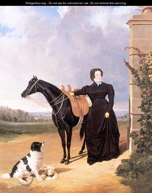Lady With Her Mount and Spaniel 1823 - John Frederick Herring Snr