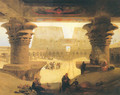 Dromos, or outer Court of the Great Temple at Edfou in Upper Egypt - David Roberts