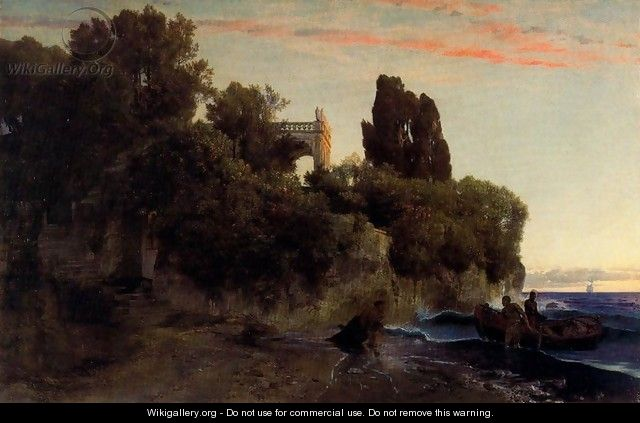 Castle by the sea (Murder in the park) - Arnold Böcklin
