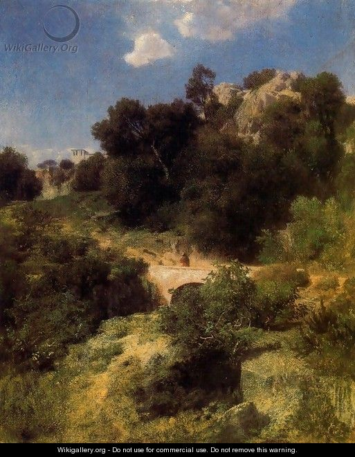 Bridge in a mountain landscape - Arnold Böcklin