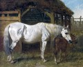A Grey Mare and Chestnut Foal by a Stable 1853 - John Frederick Herring Snr