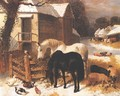 The Barnyard In Winter - John Frederick Herring, Jnr.