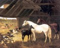 Horses and Poultry in a Barn - John Frederick Herring, Jnr.