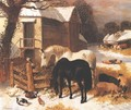 Barnyard In Winter - John Frederick Herring Snr