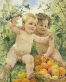 Two children with a fruit basket - Federico Andreotti