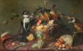 Two monkeys looting a fruit basket - Frans Snyders