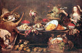 Still Life with Dame and a parrot - Frans Snyders