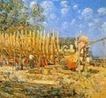 Building the Schooner, Provincetown - Childe Hassam