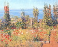 Hollyhocks, Isles of Shoals - Childe Hassam