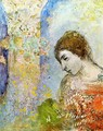 Woman with Pillar of Flowers - Odilon Redon