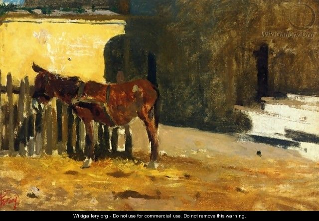 A donkey in the yard - Mariano José María Bernardo Fortuny y Carbó
