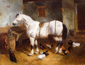 Horse and Poultry in a Barn - John Frederick Herring, Jnr.