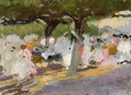 Under the tamarinds (San Sebastian) - Joaquin Sorolla y Bastida