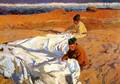 Sewing the sail - Joaquin Sorolla y Bastida