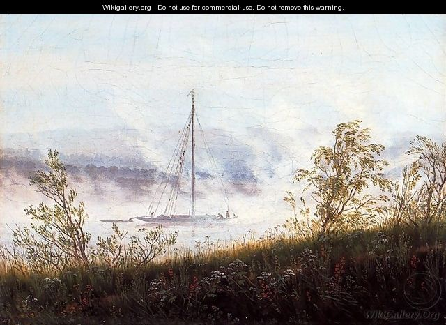 Ship on the River Elbe in the Early Morning Mist - Caspar David Friedrich