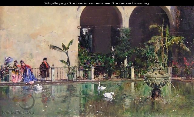 Reservoir in the gardens of the Royal Alcazar in Sevilla - Raimundo de Madrazo y Garreta