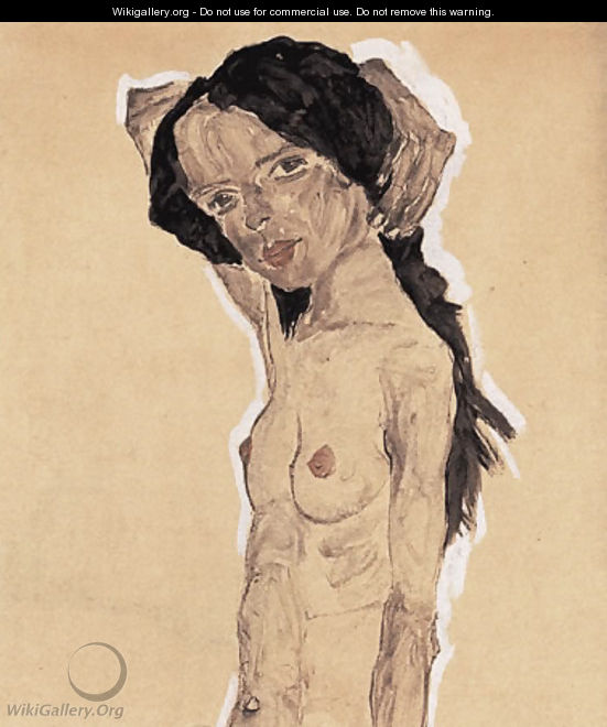 Standing nude young girl - Egon Schiele