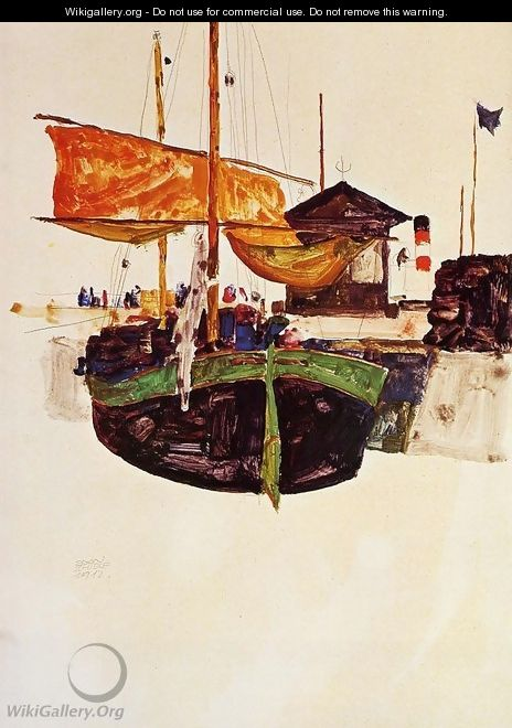 Ships at Trieste - Egon Schiele