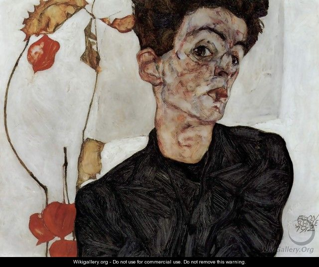 Selfportrait with Chinese lantern fruits - Egon Schiele