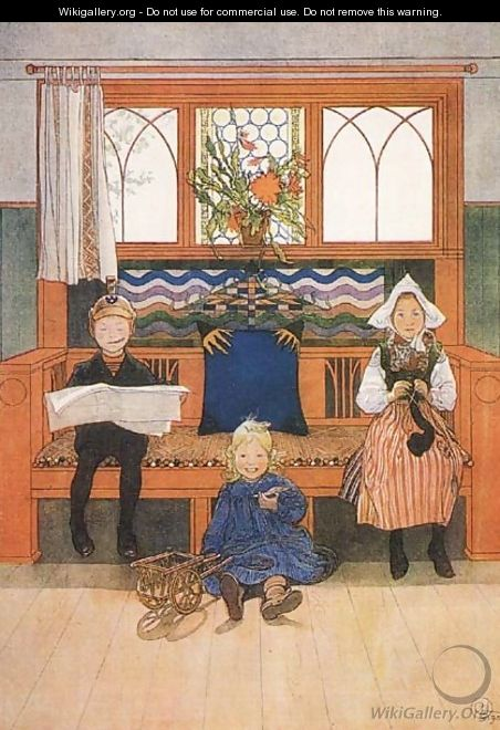 Father, Mother And Child - Carl Larsson