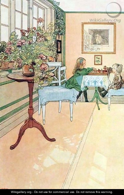 The Chess Game - Carl Larsson