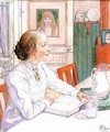 Suzanne With Milk And Book - Carl Larsson