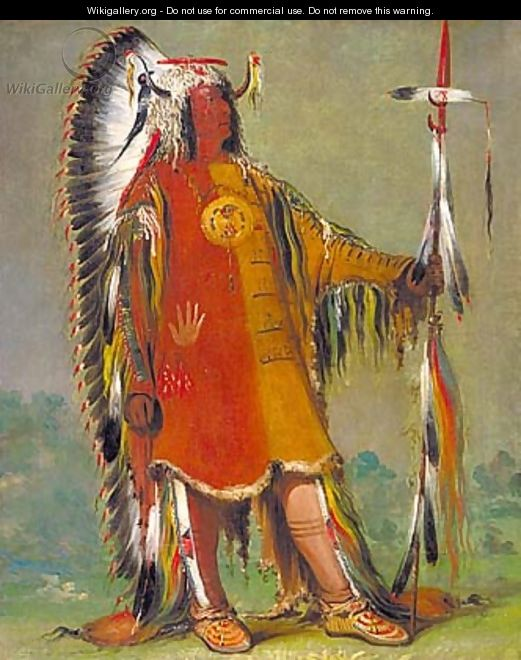 Máh-to-tóh-pa, Four Bears, Second Chief, in Full Dress - George Catlin