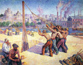 The Pile Drivers, Quai de la Seine at Billancourt - Maximilien Luce