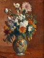 Red Flowers in a Vase - Maximilien Luce