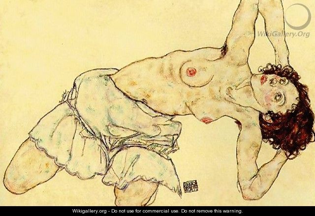 Nude woman with a skirt - Egon Schiele